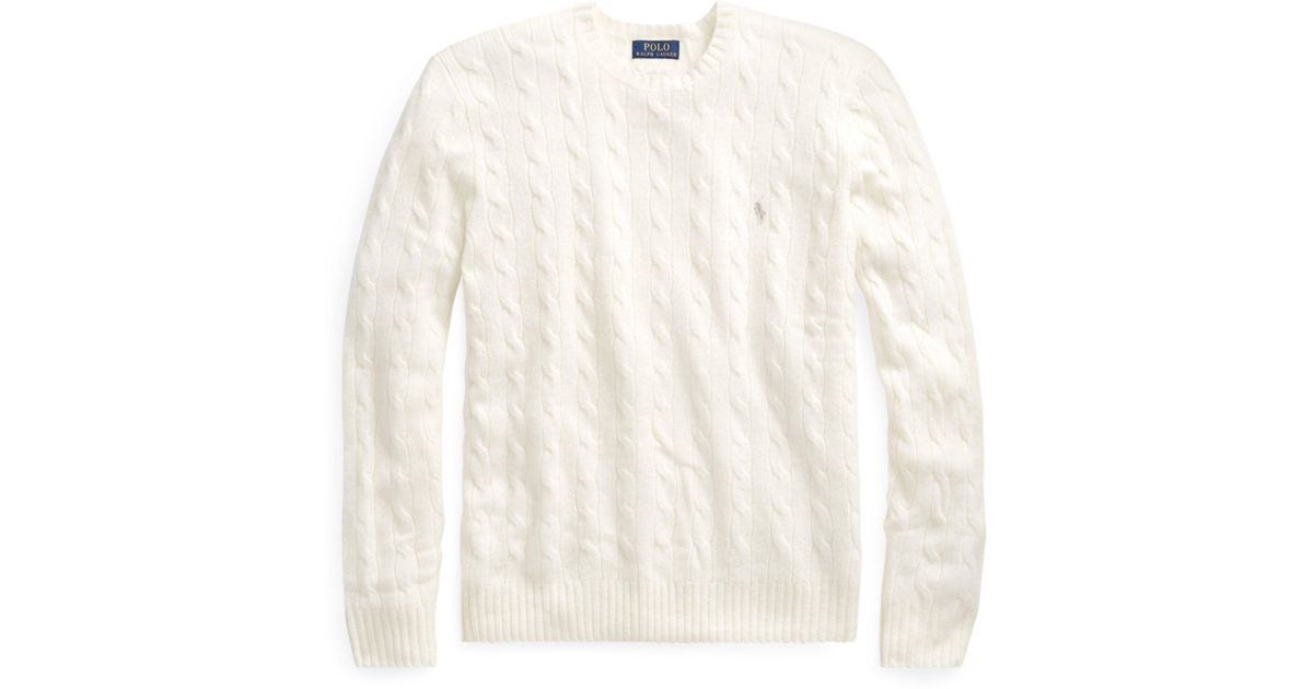 8a24aeed7ec28 Polo Ralph Lauren Cable Merino-cashmere Sweater in White for Men - Lyst
