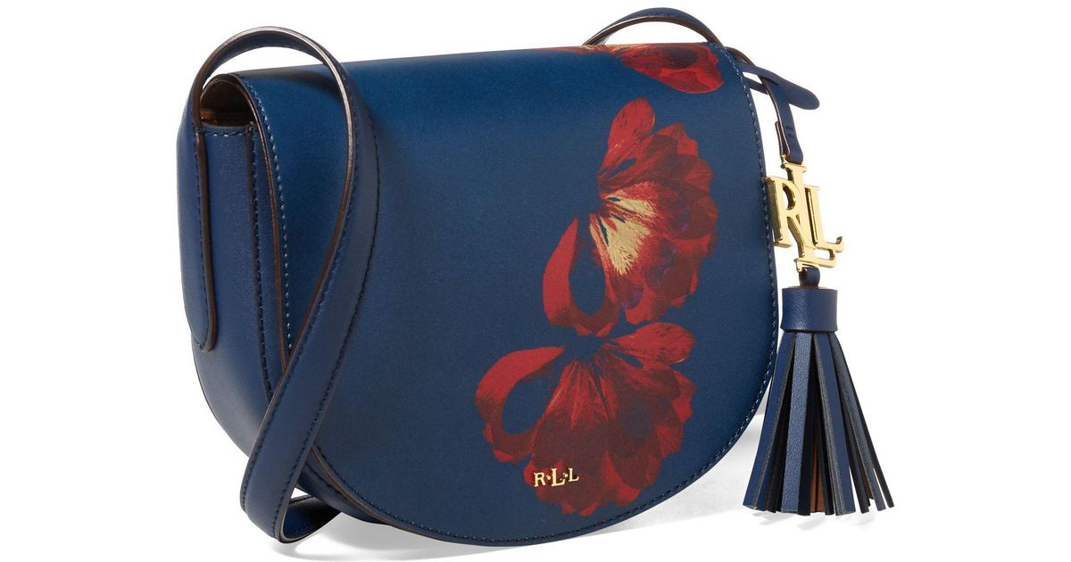9dde4b78db02 Ralph Lauren Leather Mini Caley Saddle Bag in Blue - Lyst