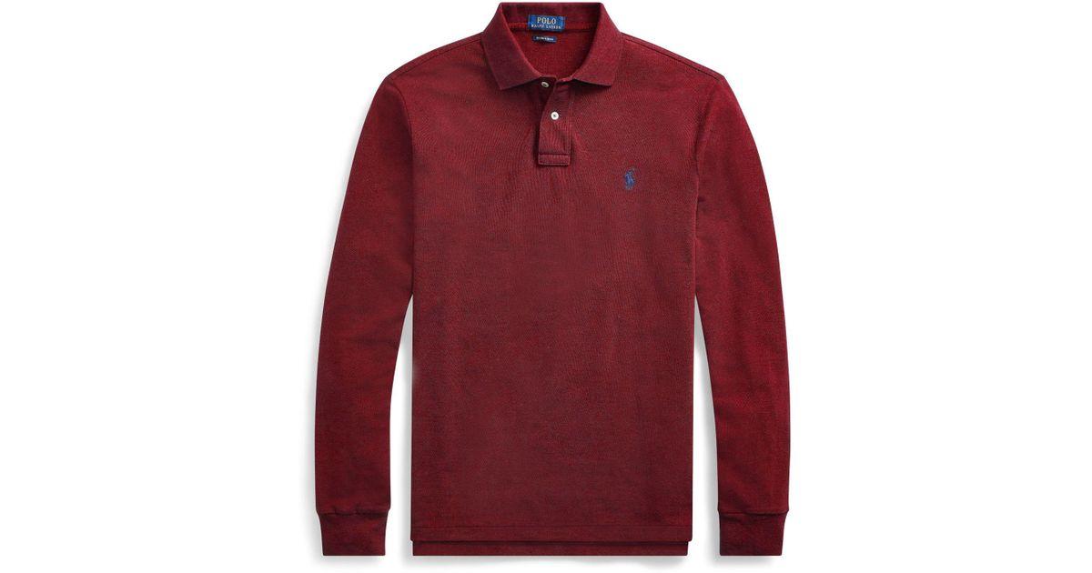 da961348 Polo Ralph Lauren Slim Fit Mesh Long-sleeve Polo in Red for Men - Lyst