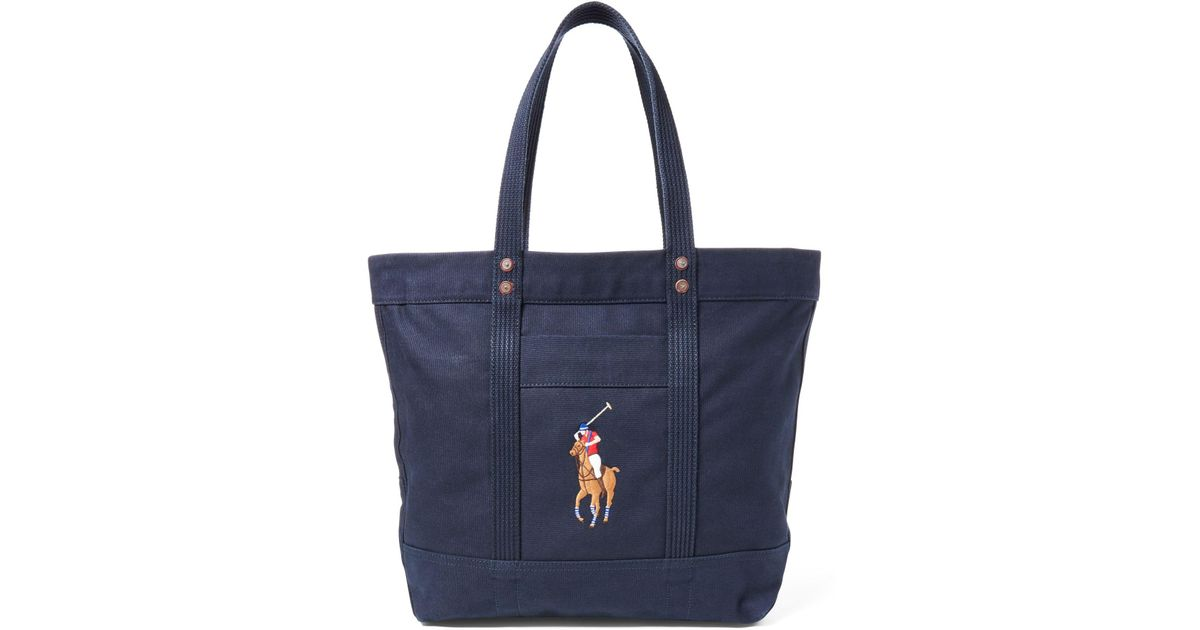 f476467a5a62 Polo Ralph Lauren Canvas Big Pony Tote in Blue - Lyst