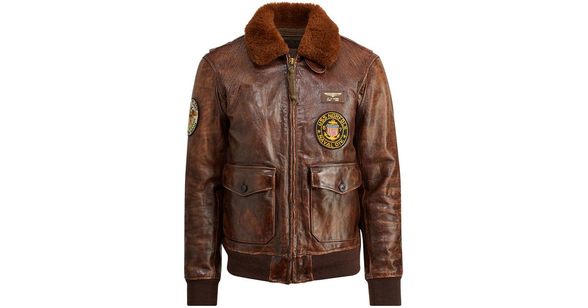 9cd9cbc284d Lyst - Polo Ralph Lauren The Iconic G-1 Bomber Jacket in Brown for Men