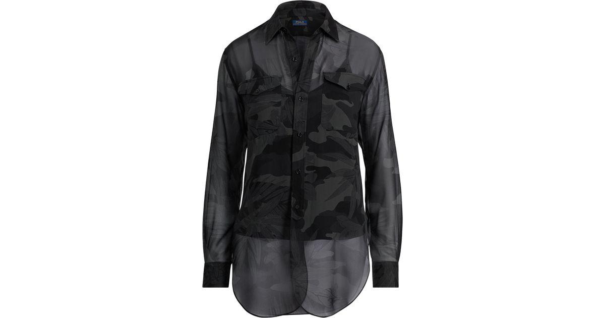 a18eeab356599 Lyst - Polo Ralph Lauren Camo Silk Georgette Shirt in Black