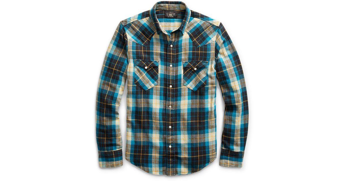 fe55ab7dc7 Lyst - RRL Buffalo Cotton Western Shirt for Men