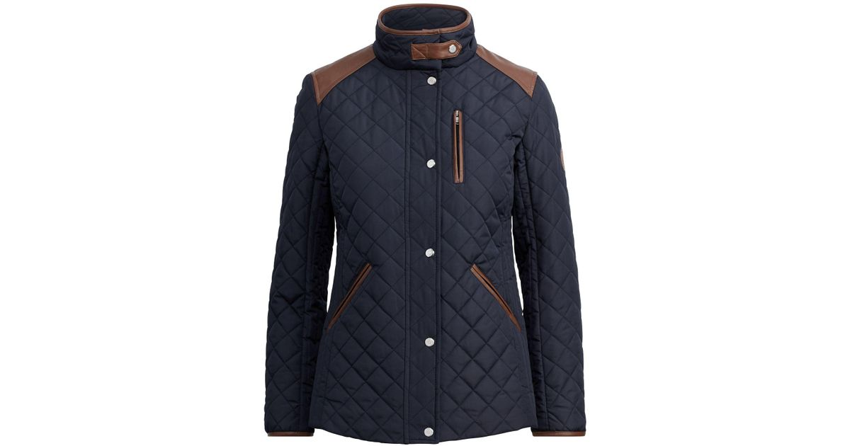 ad2f3fe61785 Ralph Lauren Shoulder-patch Quilted Jacket in Blue - Lyst