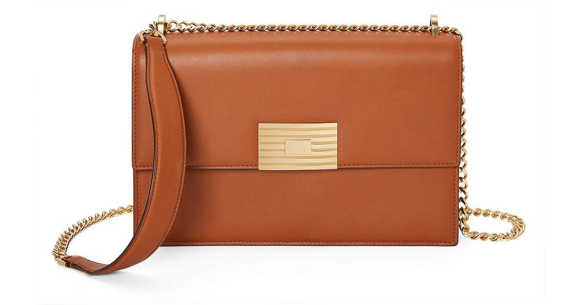 891ffc1d5e06 Ralph Lauren Calfskin Rl Chain Bag in Brown - Lyst