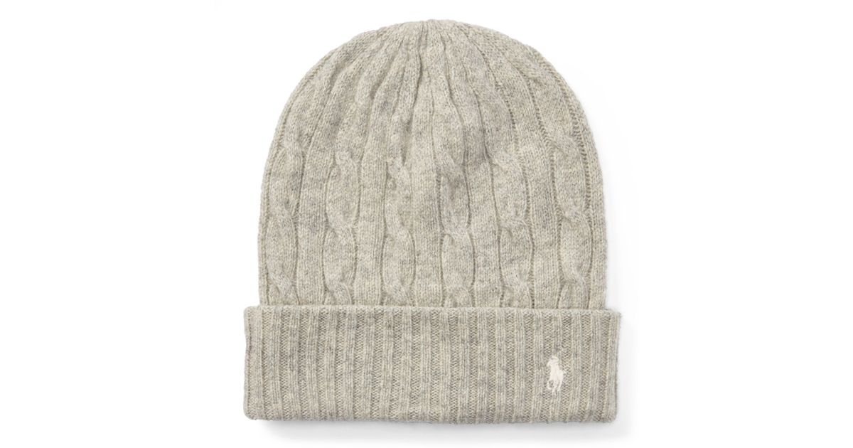 6758915b188 Polo Ralph Lauren Cable Wool-cashmere Hat in Natural - Lyst