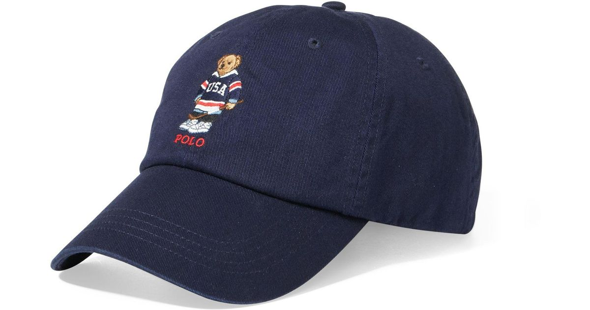 5afc5695 Polo Ralph Lauren Hockey Polo Bear Chino Cap in Blue for Men - Lyst