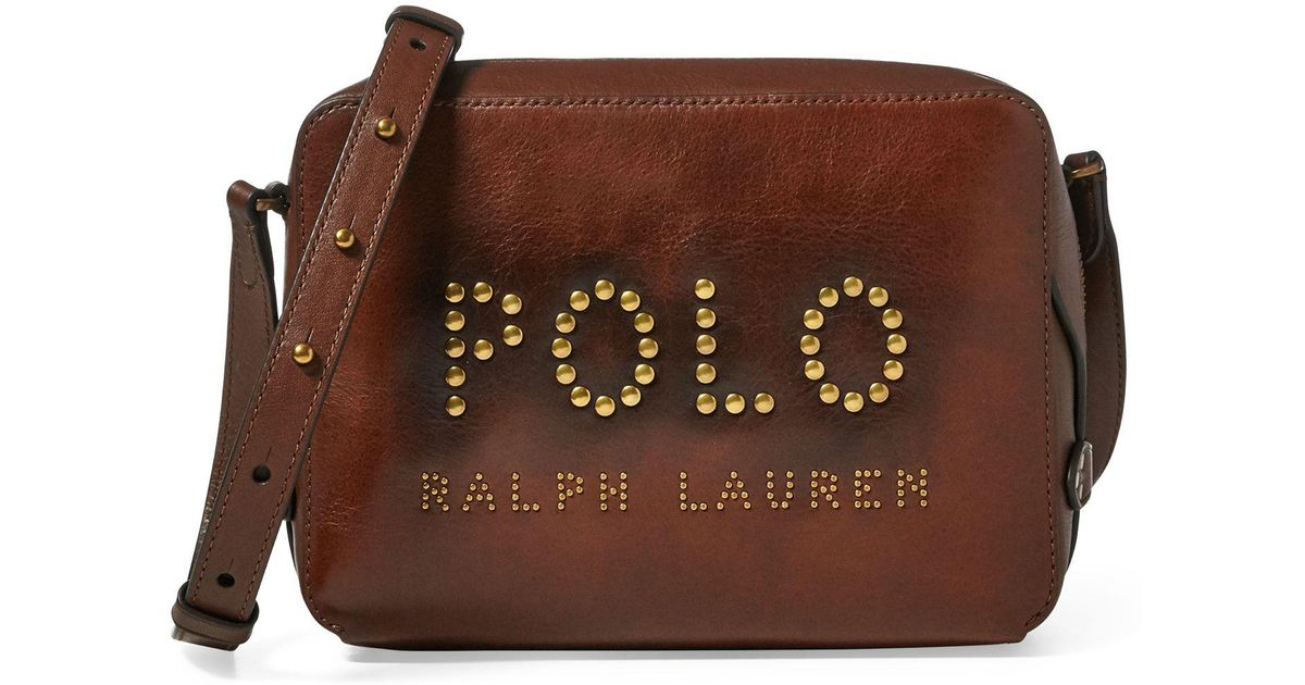 23227f76b83d Polo Ralph Lauren Studded-polo Camera Bag in Brown - Lyst