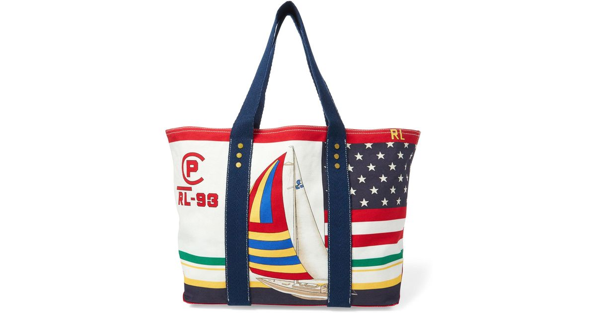 e5bbd1c06a Polo Ralph Lauren Rl-93 Canvas Tote Bag in Red - Lyst