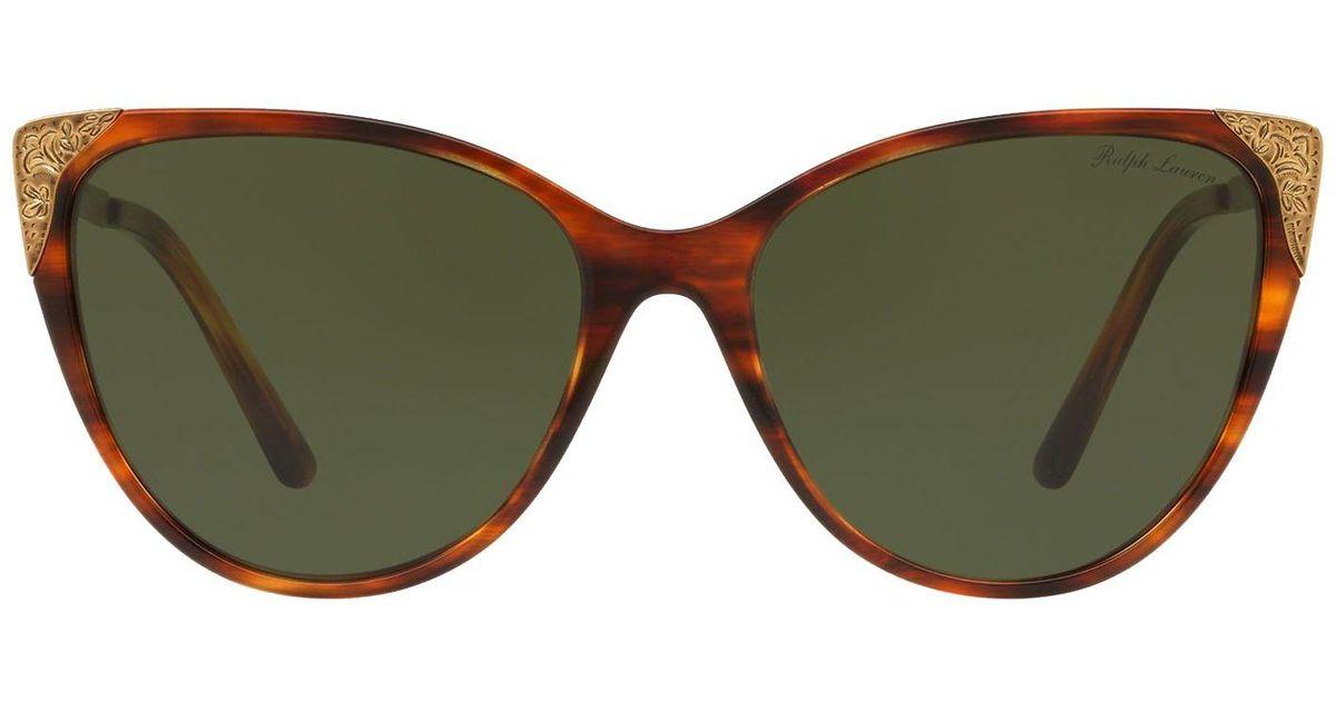 c4414b96db Ralph Lauren - Green Hand-tooled Cat-eye Sunglasses - Lyst