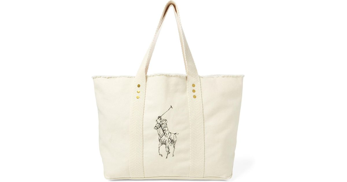Lyst - Polo Ralph Lauren Frayed Canvas Large Tote in Natural 3ccbfb15f1401