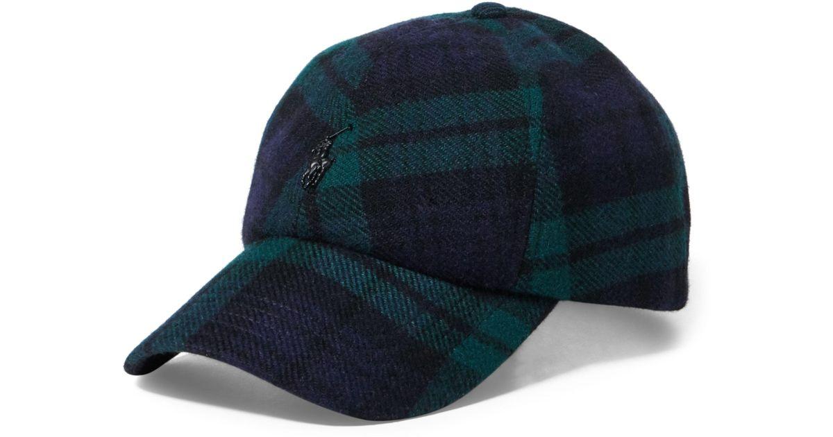 43a4741d34a32 Polo Ralph Lauren Tartan Wool-blend Fitted Cap in Blue for Men - Lyst