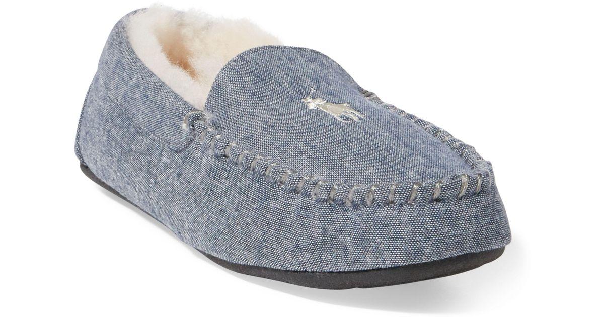 bf1fad7a1 ... hot lyst polo ralph lauren dezi ii moccasin slipper in blue for men  a16c0 46596