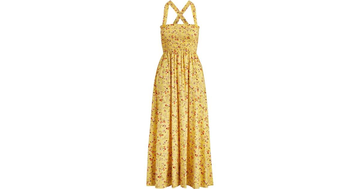 36eb6d177d Polo Ralph Lauren Floral Cotton Midi Dress in Yellow - Save 15% - Lyst