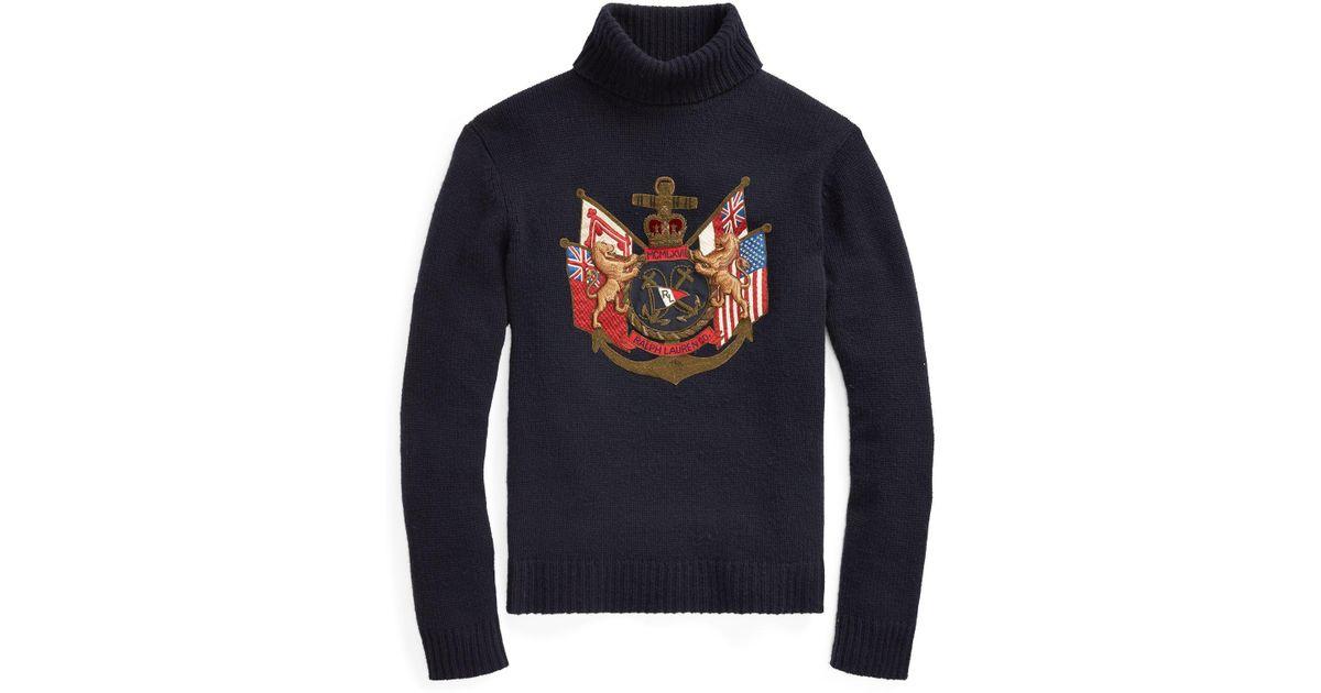 aa020fdc6efe Lyst - Ralph Lauren Purple Label Bullion-patch Cashmere Sweater in Blue for  Men