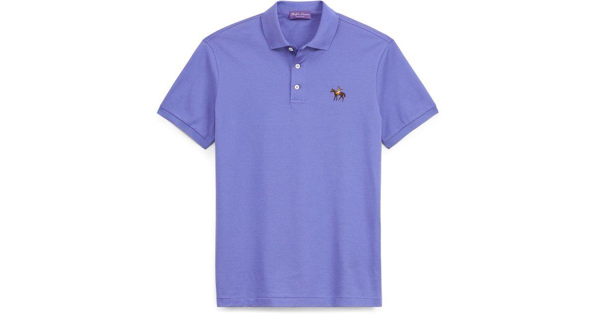 a010cc6483 ... striped polo shirt 403de b3526; official store lyst ralph lauren purple  label custom slim fit piqué polo in blue for men