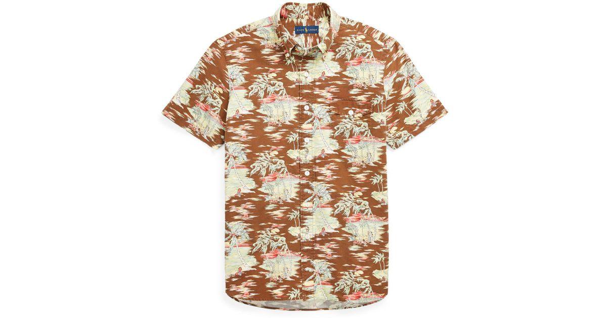 Lyst - Polo Ralph Lauren Classic Fit Hawaiian Shirt in Brown for Men 154df6facd57