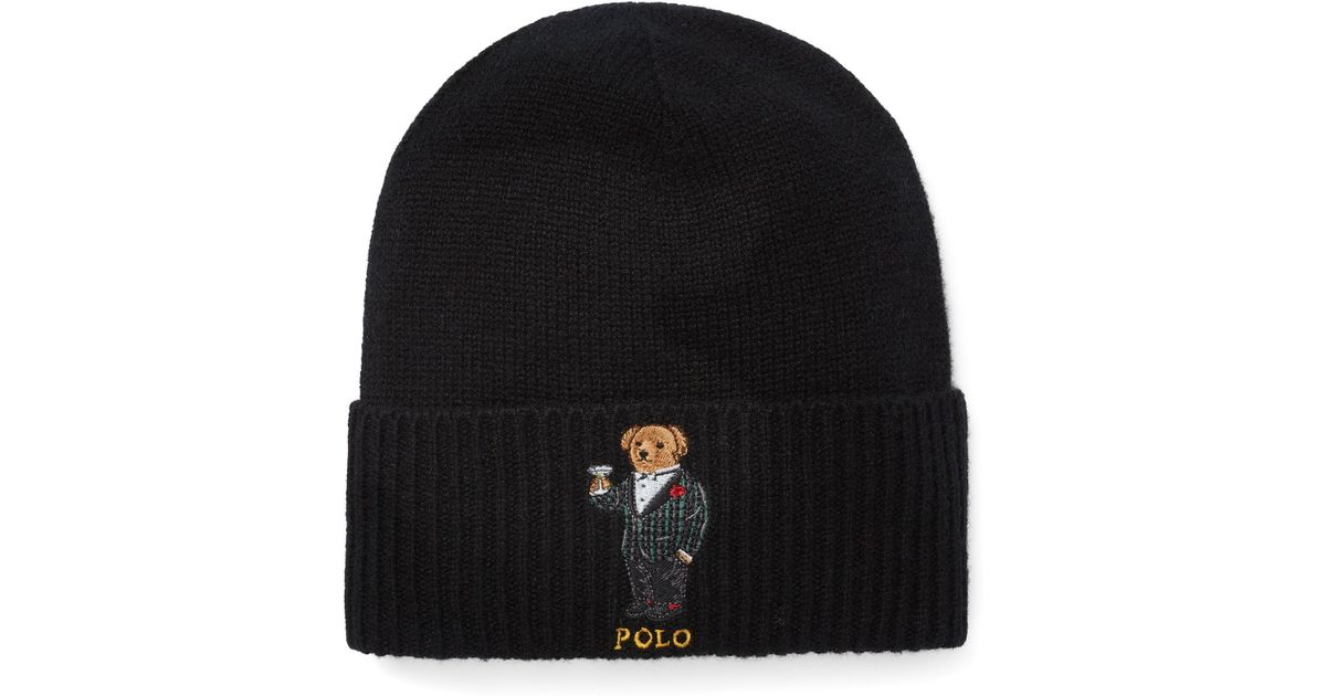 26d66b0f5b43a Polo Ralph Lauren Cashmere-wool Polo Bear Hat in Black for Men - Lyst