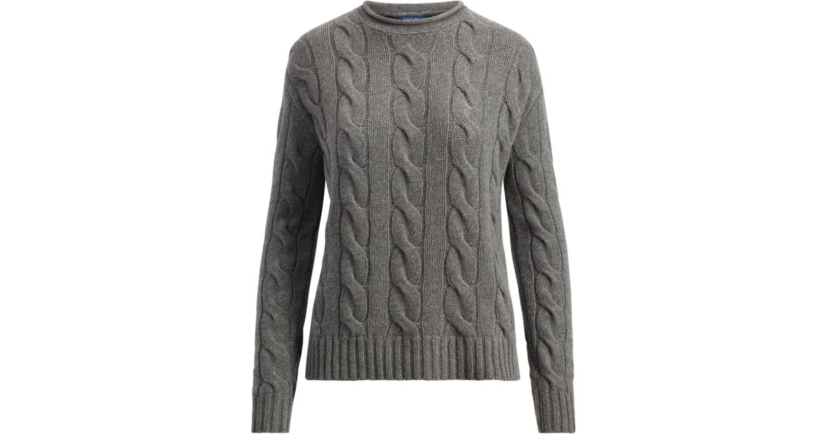 18f7913dc9cab Lyst - Polo Ralph Lauren Cable Wool-cashmere Sweater in Gray