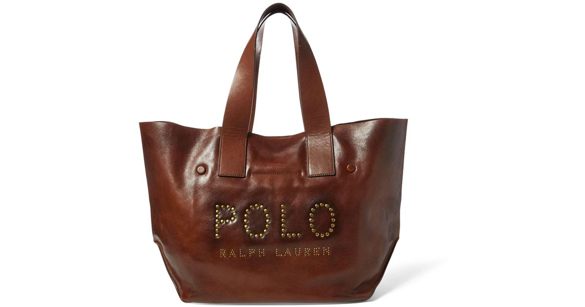 582de5d6593a3 Polo Ralph Lauren Studded Leather Polo Tote Bag in Brown - Lyst