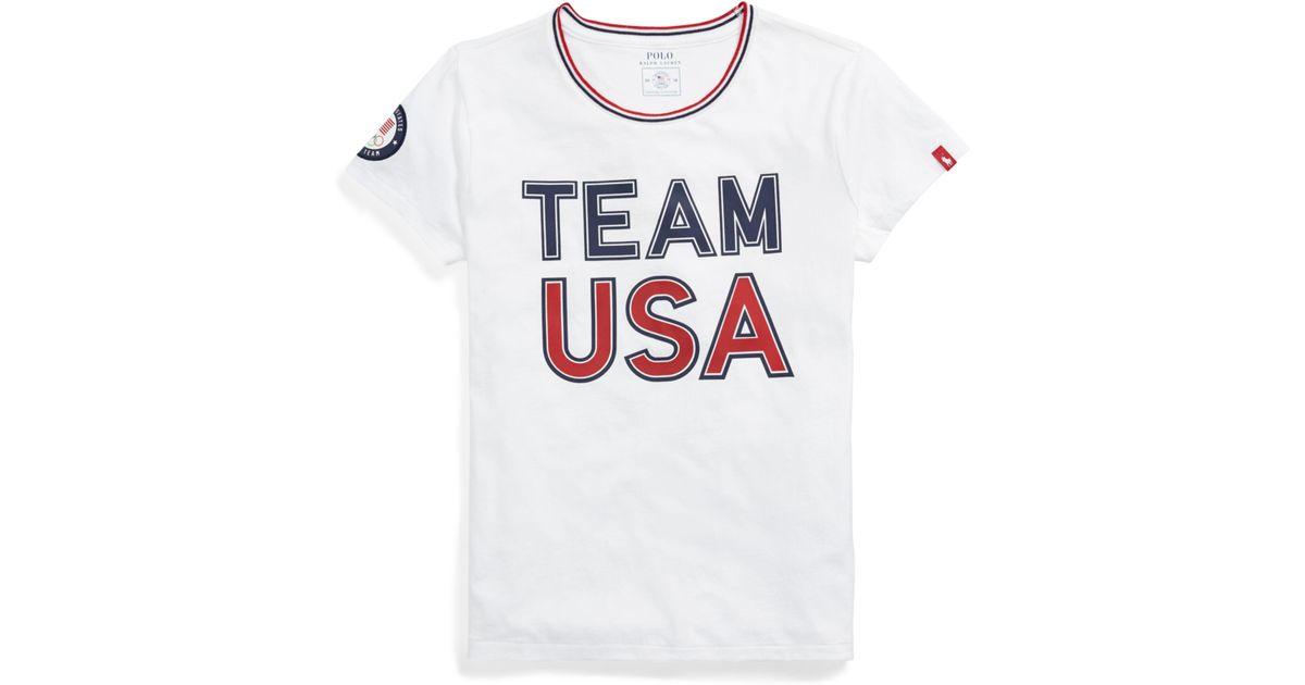 Usa Short White For Shirt Sleeve Ralph T Men Lyst Polo Lauren Team 34AR5jL