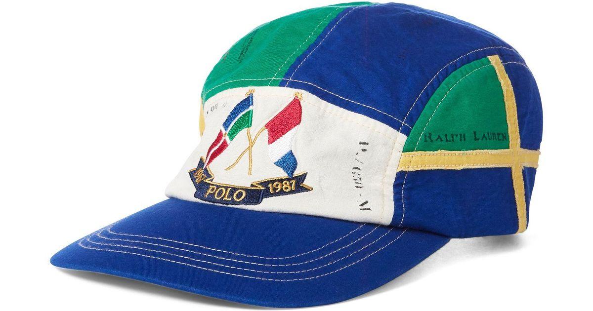 f2e8ea44 Polo Ralph Lauren Cross Flags Cotton Cap in Blue for Men - Lyst