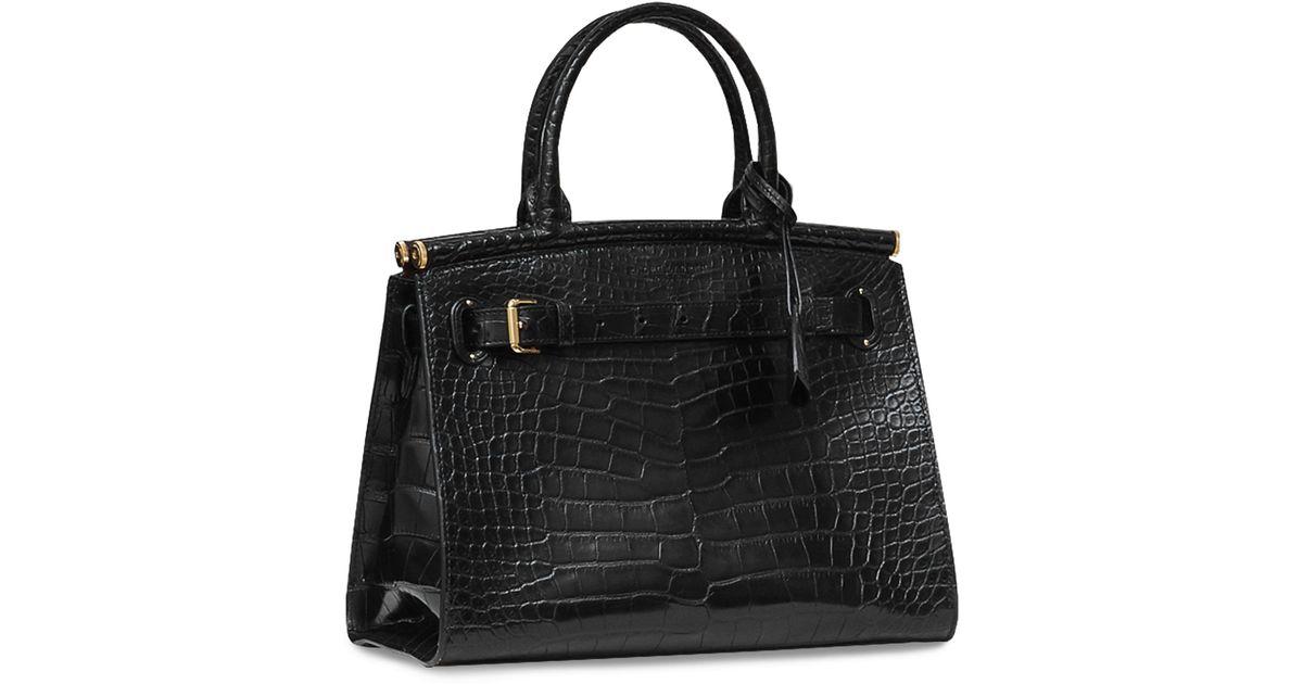 f58aff7d5806 Ralph Lauren Alligator Medium Rl50 Bag in Black - Lyst