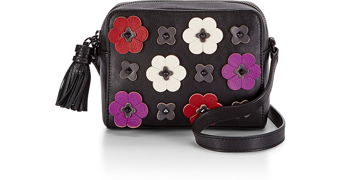 Rebecca Minkoff Floral Applique Camera Bag In Black | Lyst