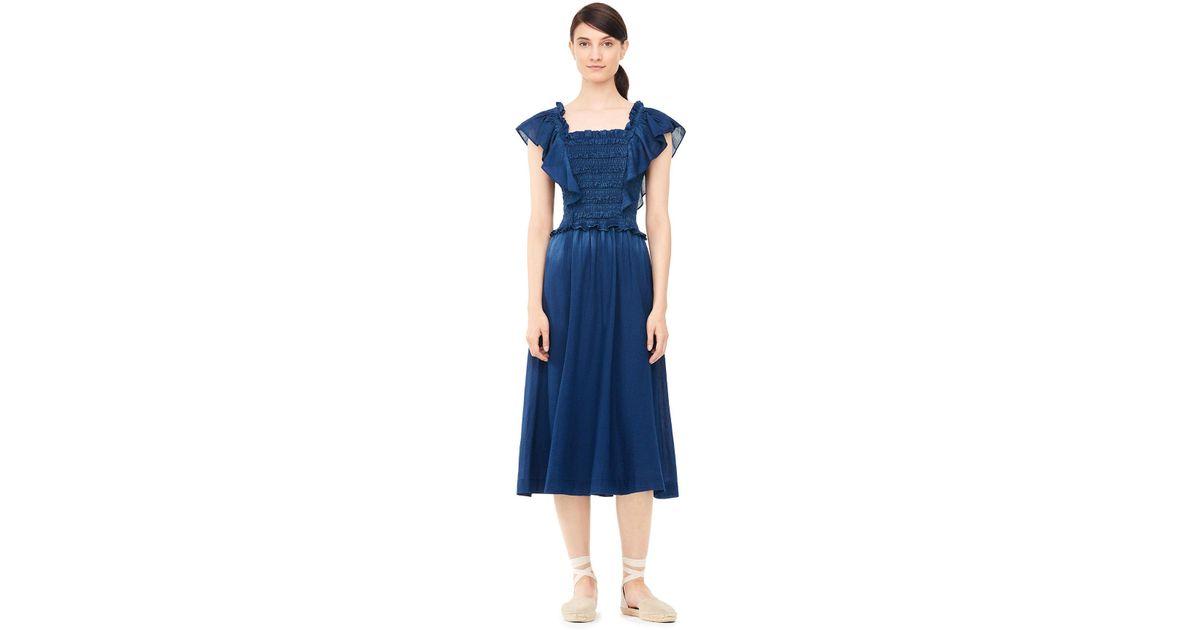 044793cba86ad Lyst - Rebecca Taylor La Vie Smocked Tissue Denim Dress in Blue