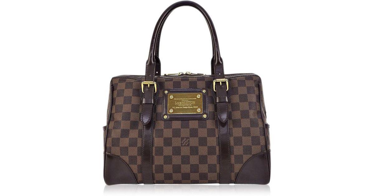 d4990c18f5c5 Lyst - Louis Vuitton Used Women s Handbag Berkeley Damier Ebene N52000  Brown Canvas
