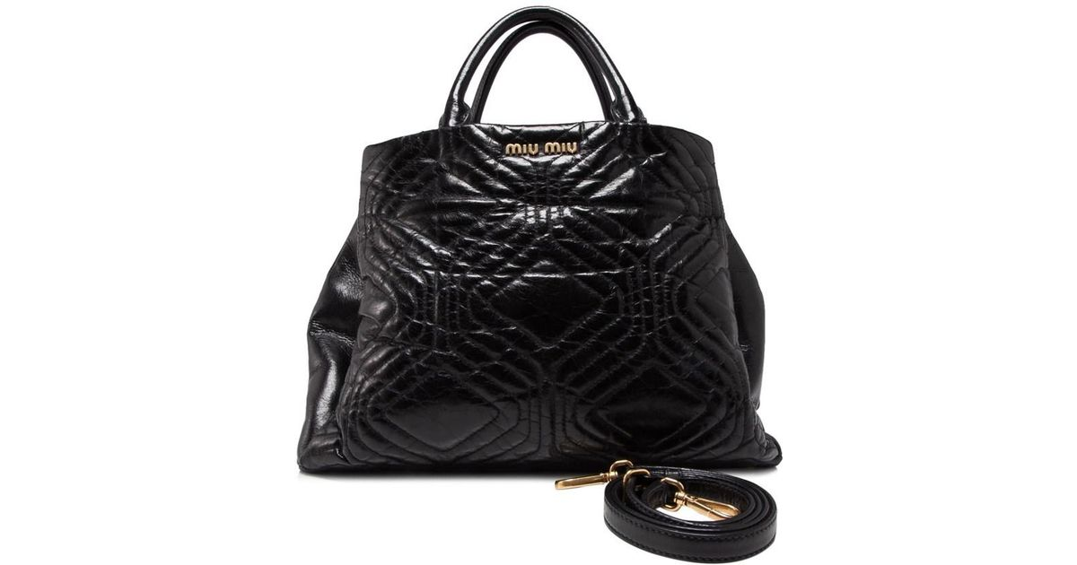 Lyst - Miu Miu Pre-owned Vitello Shine Trapu Shopping Bag in Black d52f713146676