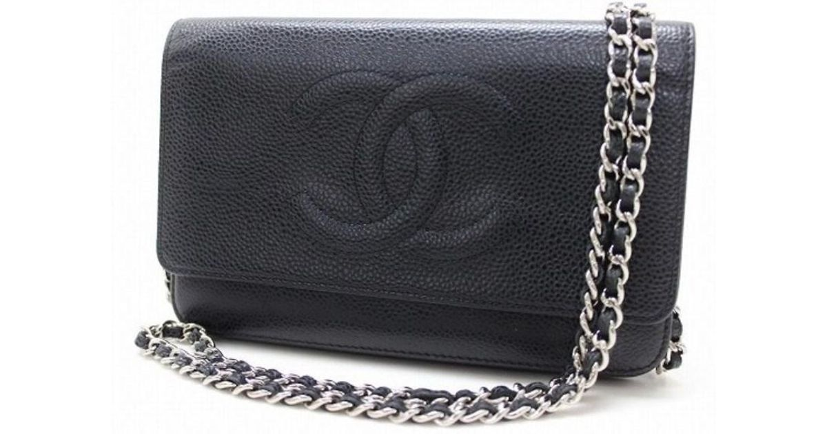 b265e6f0401839 Chanel Caviar Leather Cc Chain Wallet Black A48654 in Black - Lyst