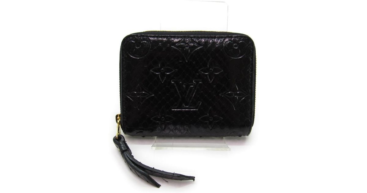 be4a265031ac Lyst - Louis Vuitton Zippy Coin Purse Round Wallet Black Python Leather  N91451 in Black