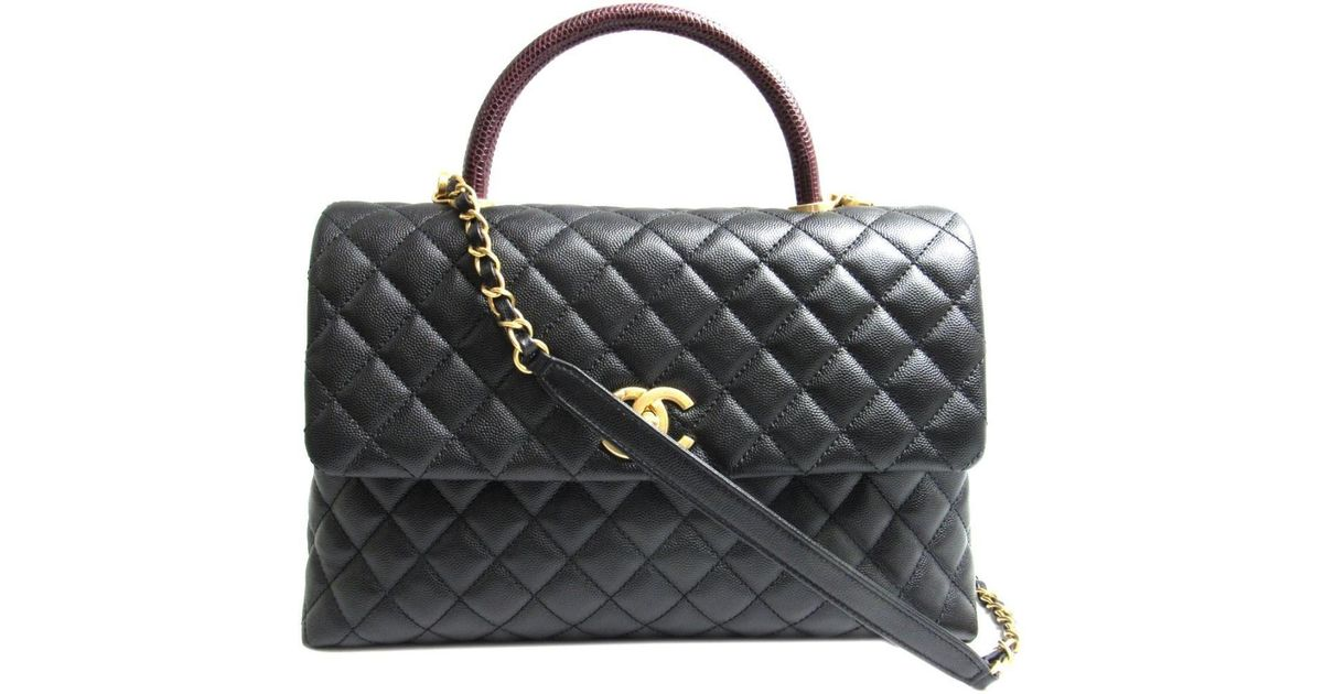 2058357c9e52 Lyst - Chanel 2way Shoulder Bag Caviar Skin Leather Black in Black