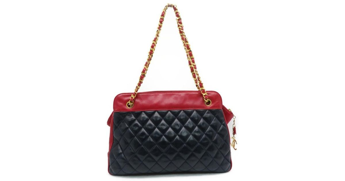 290ab93521d7 Lyst - Chanel Auth Vintage Ghw Chain Shoulder Bag Lambskin Leather Blue red  2336 in Blue