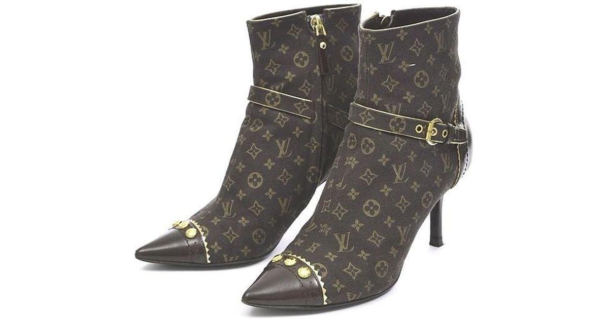 6565af8db5f2 Lyst - Louis Vuitton Monogram Mini Heel Short Boots Women s   34 1 2 in  Brown