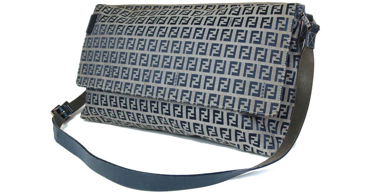 49c1c3eb73 Lyst - Fendi Authentic Zucca Canvas Leather Navy Blue Shoulder Bag in Blue