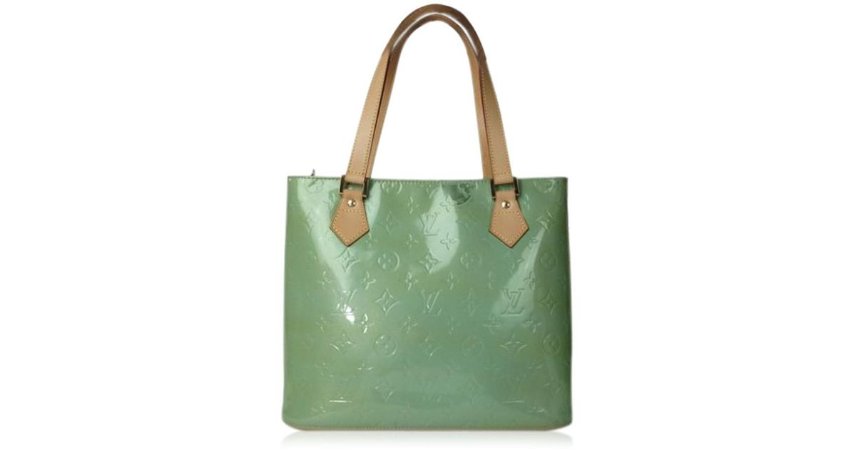 78ac031d4ebfb Lyst - Louis Vuitton Houston Light Green Patent Leather Tote Bag in Green