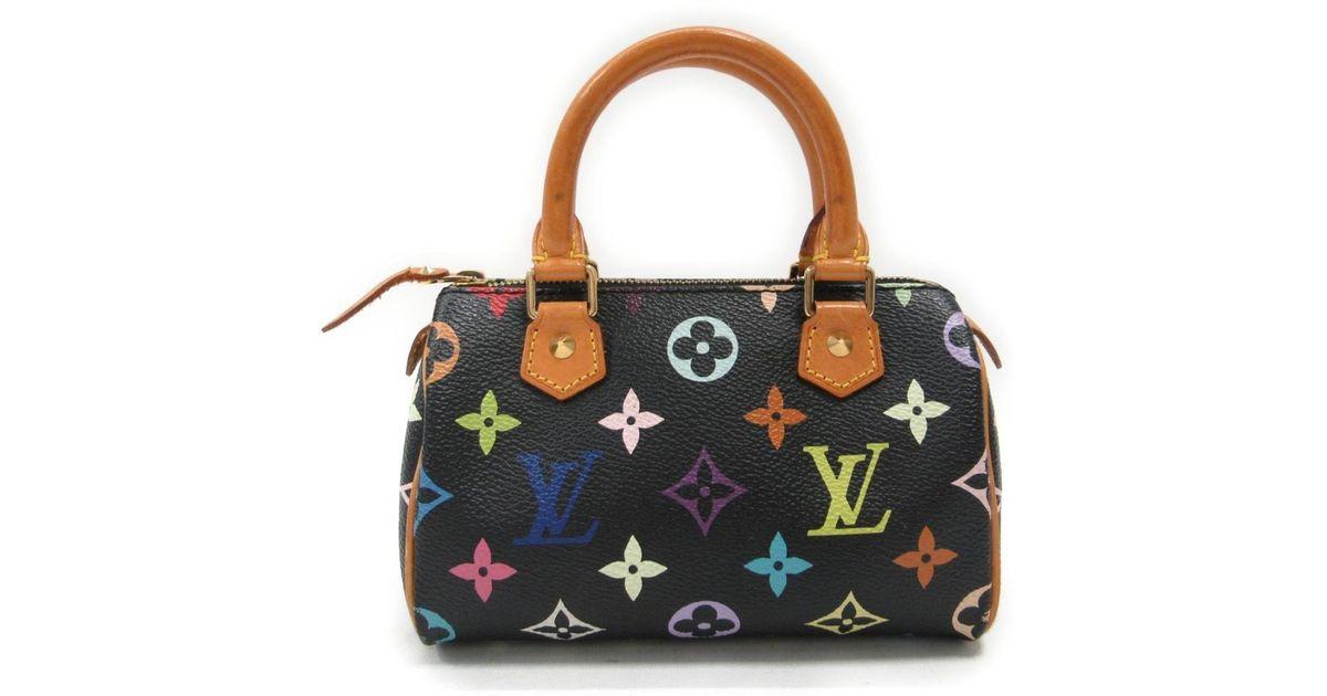 Lyst - Louis Vuitton Mini Speedy Handbag Bag Monogram Multicolore Black  M92644 in Black 4f4c04a1aa67d