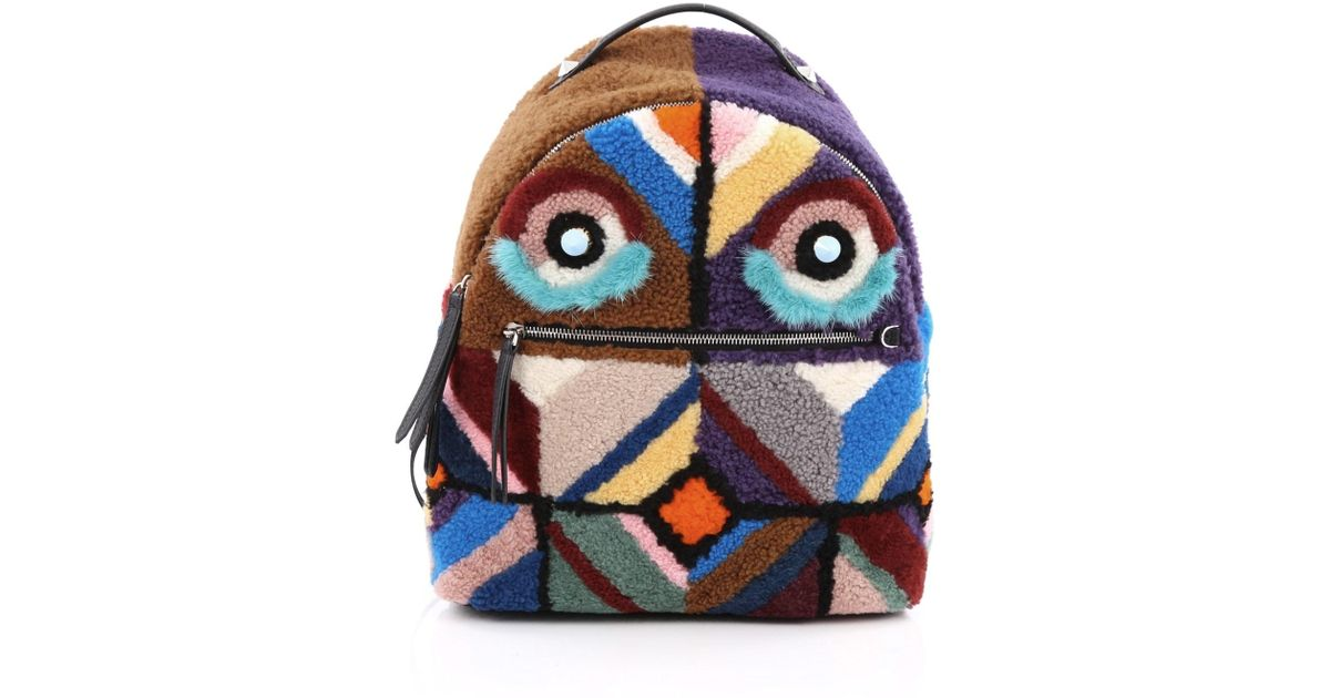 Fendi Bugs Backpack Multicolor Shearling With Fur ssVhzVX