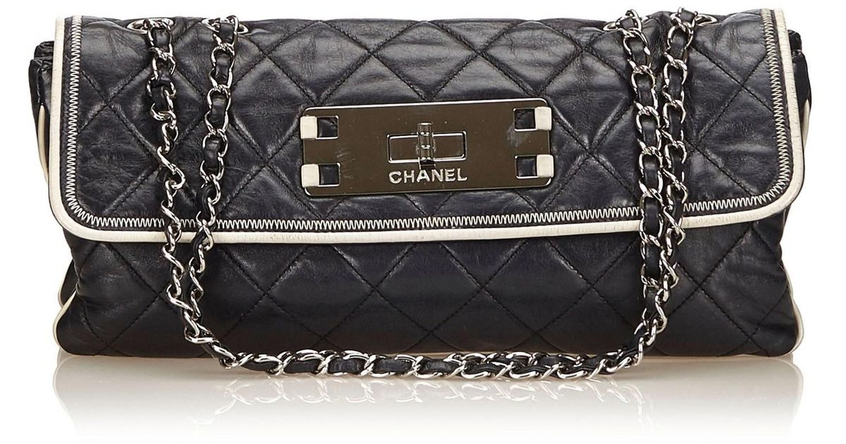 5e2794b1875 Lyst - Chanel East West Flap Bag in Black