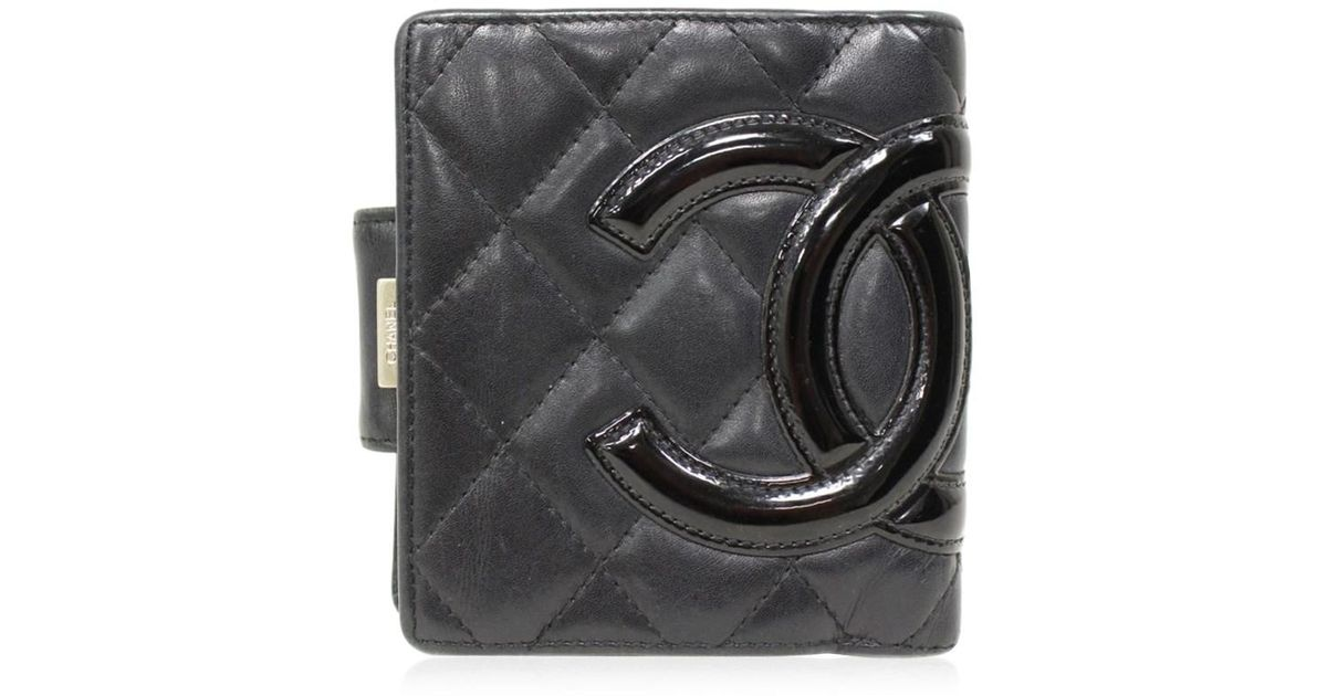 473f524cefb3 Chanel Cambon Ligne Bifold Wallet Quilted Lambskin Leather Black in Black -  Lyst
