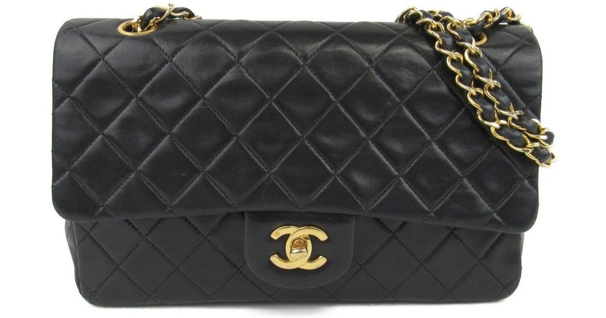 eedcec2a1201 Lyst - Chanel Matelasse W Flap Chain Shoulder Bag Lambskin Leather Black Used  Vintage in Black