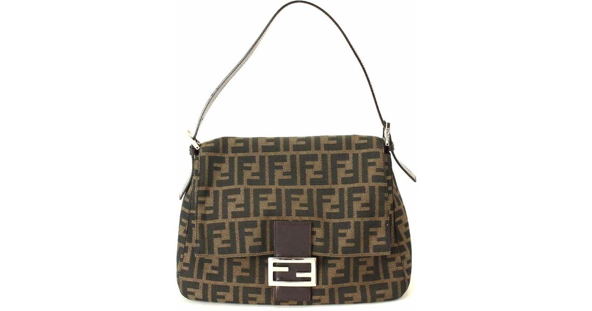 4d8523ef6be5 Lyst - Fendi Zucca Mama Shoulder Bag Canvas Leather Brown 90036827  90036827.. in Brown