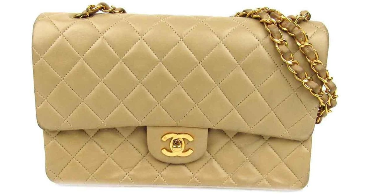 297691bf5540 Chanel Matelasse Cc W Flap Chain Shoulder Bag Lamb Leather Beige Used  Vintage in Natural - Lyst