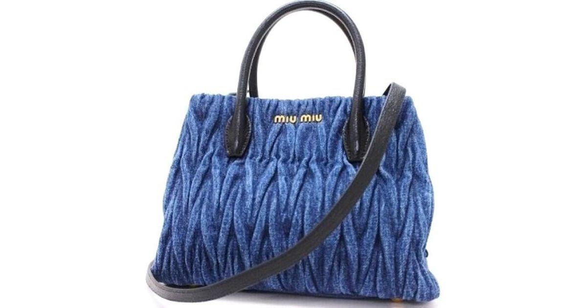 7a9037a0671a Lyst - Miu Miu Denim Matelasse 2way Hand Bag Blue X Black 5bg069 in Blue