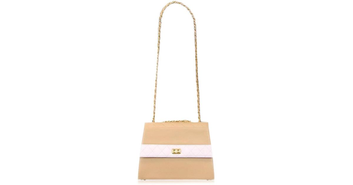b606b12acb Lyst - Chanel Matelasse Leather Chain Shoulder Bag Beige White 90014929..  in Brown