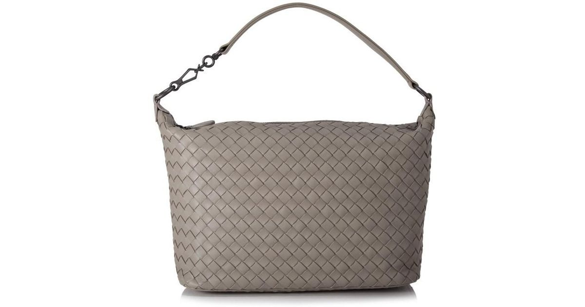 Lyst - Bottega Veneta Intrecciato Nappa Brunito Loop Handle Bag in Gray bff9cc7d679c9