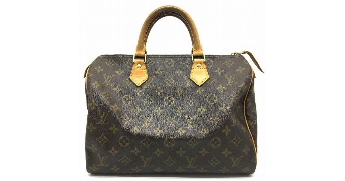 da9f1d434f0c Lyst - Louis Vuitton Monogram Canvas Speedy 30 Tote Bag Handbag Brown M41526  in Brown