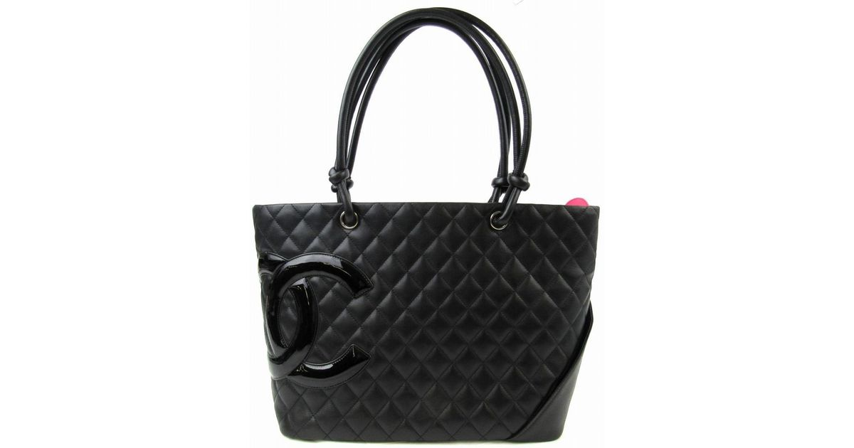8e3c69734780 Lyst - Chanel Authentic Cambon Line Large Tote Bag Lambskin Leather Black  in Black
